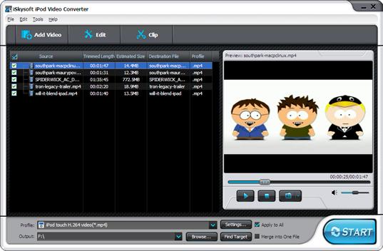 iSkysoft iPod Movie Converter Screenshot 1