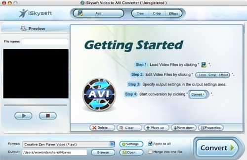 iSkysoft Video to AVI Converter for Mac Screenshot