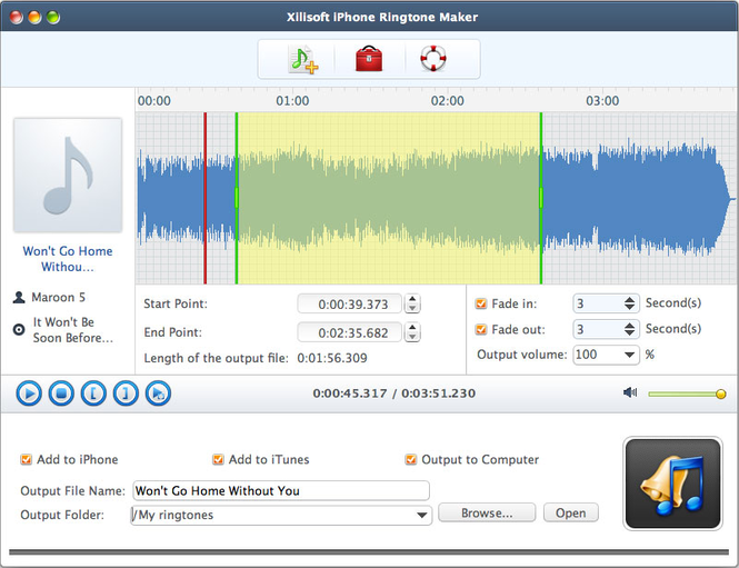 Xilisoft iPhone Ringtone Maker for Mac Screenshot