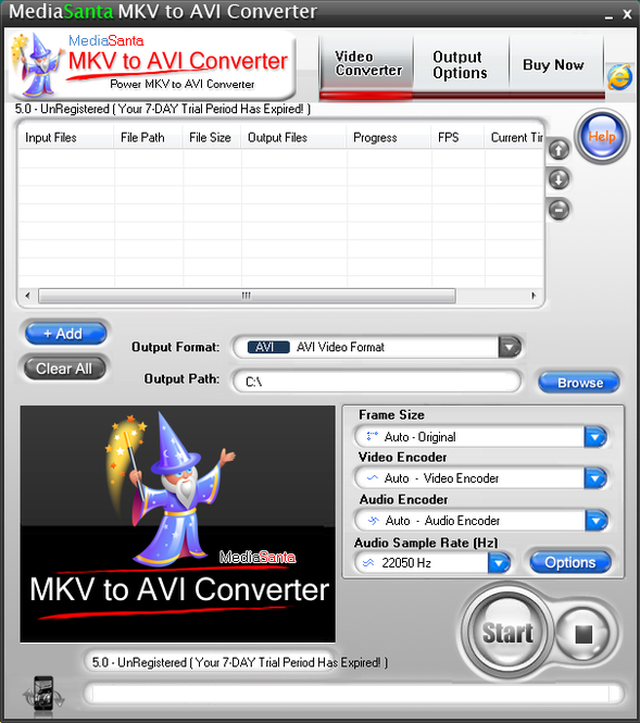 MediaSanta MKV to AVI Converter Screenshot