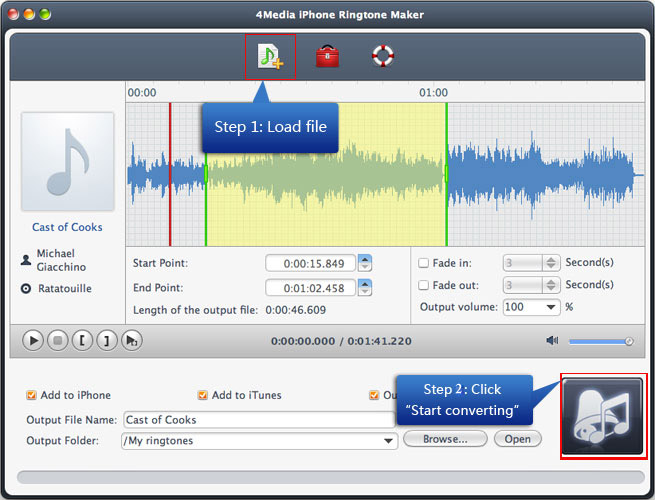 4Media iPhone Ringtone Maker for Mac Screenshot