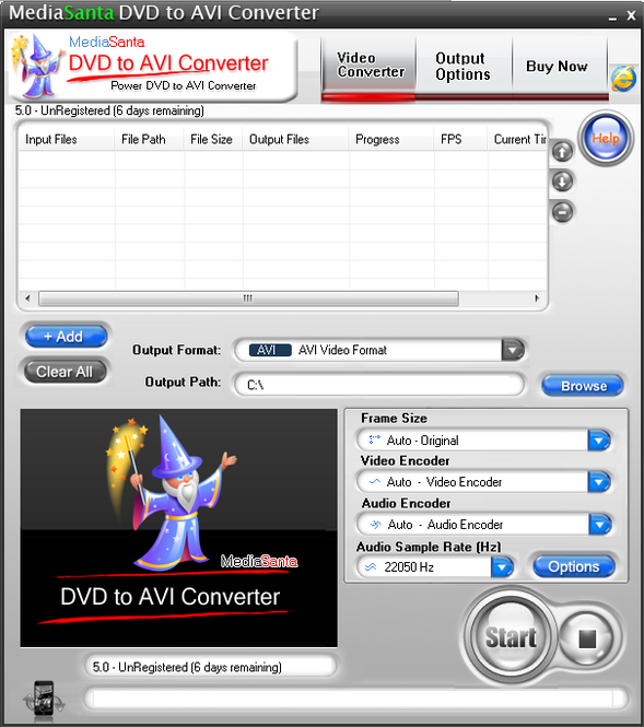 MediaSanta DVD to AVI Converter Screenshot