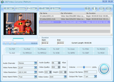 007 Video Converter Platinum Screenshot 1