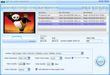 007 PSP Video Converter Screenshot 1