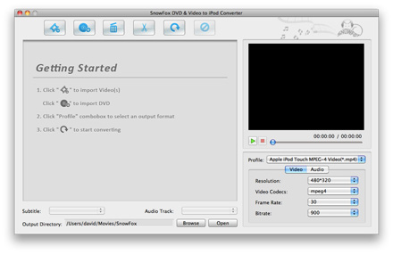 SnowFox DVD & Video to iPod Converter for Mac Screenshot