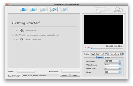 SnowFox DVD to iPod Converter for Mac Screenshot