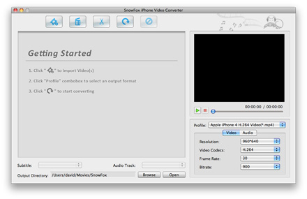 SnowFox iPhone Video Converter for Mac Screenshot