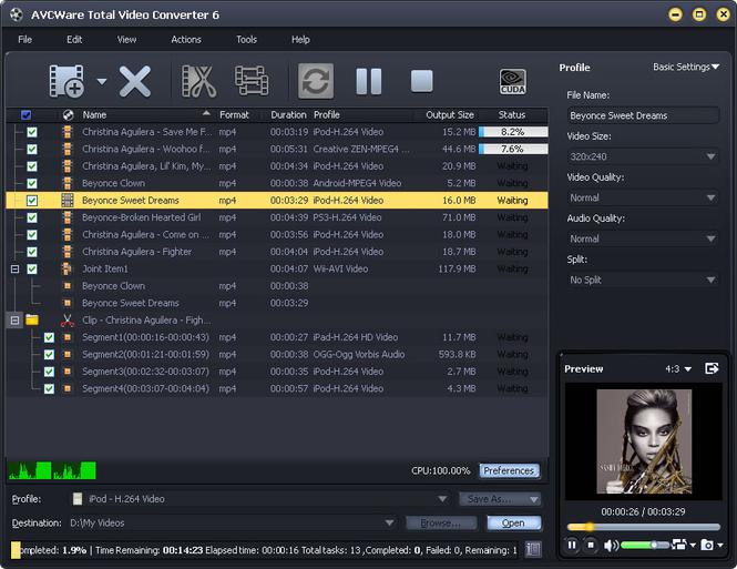 AVCWare Total Video Converter Screenshot 1