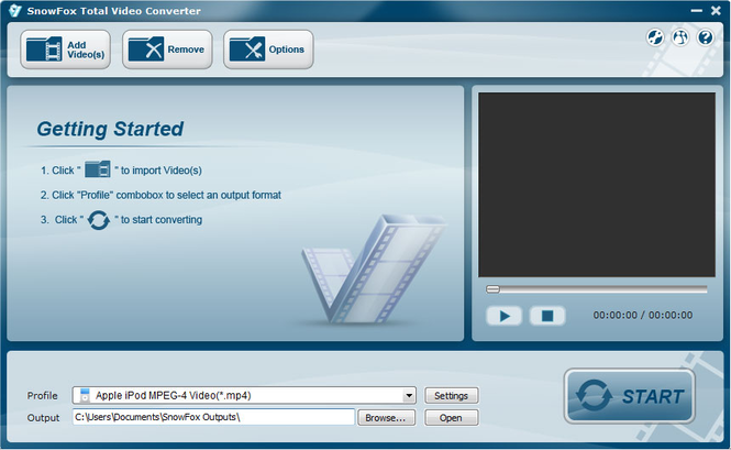 SnowFox Total Video Converter Screenshot