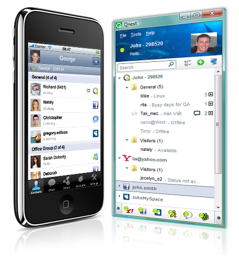 Qnext Mobile/PC Multi Messenger, Sharing Screenshot