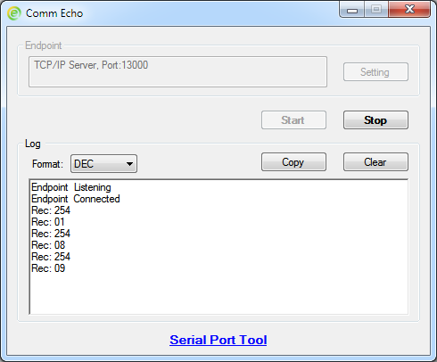 Comm Echo Screenshot