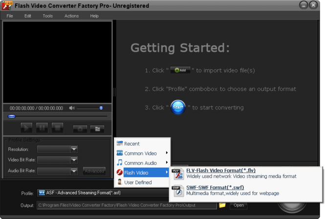 Flash Video Converter Factory Pro Screenshot 1