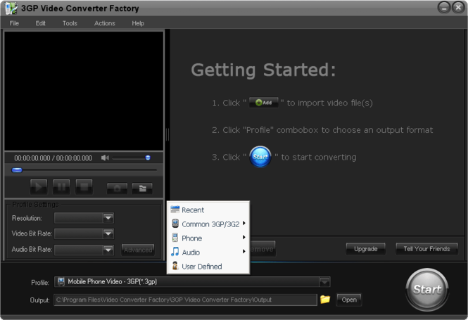 Free 3GP Video Converter Factory Screenshot 1