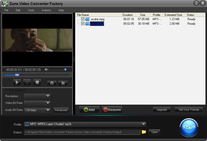Free Zune Video Converter Factory Screenshot 1