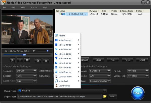 Nokia Video Converter Facotory Pro Screenshot