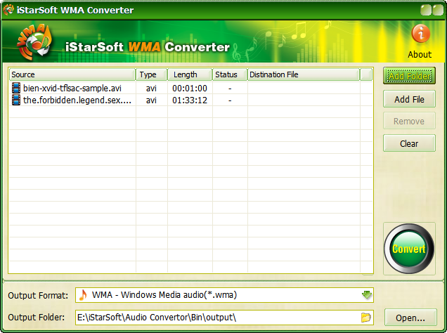 iStarSoft WMA Converter Screenshot