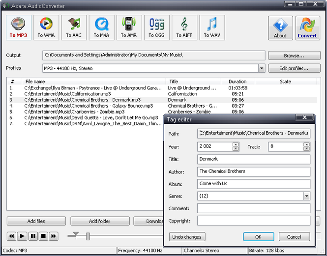 All-in-One Audio Converter professional edition Screenshot
