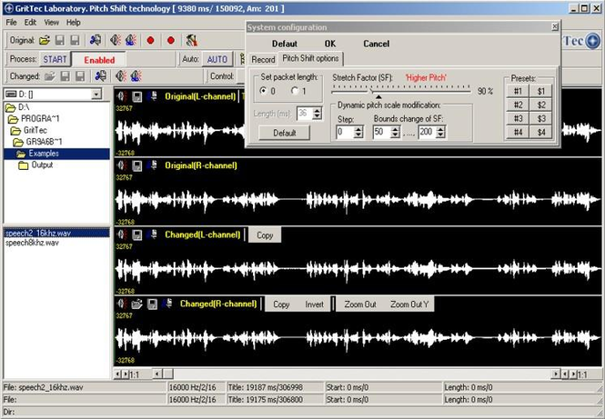 Pitch Shift in Speech & Audio signals Screenshot