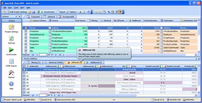 Apex SQL Data Diff Screenshot