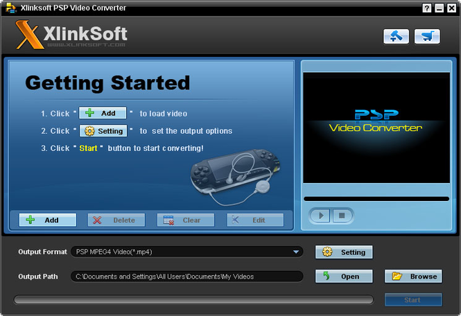 Xlinksoft PSP Video Converter Screenshot 1