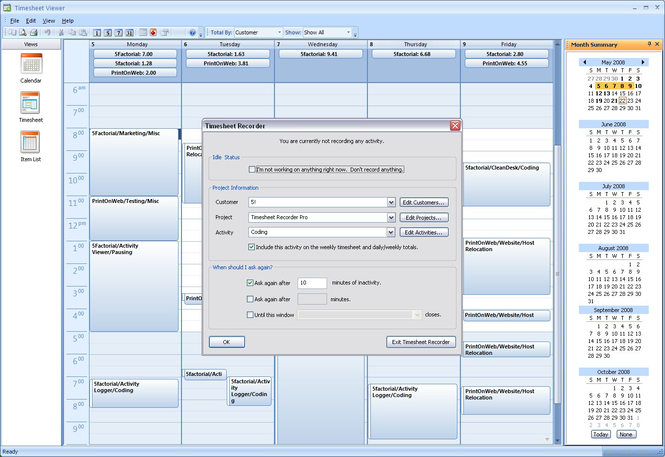 Timesheet Recorder Pro Screenshot