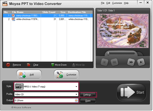 PowerPoint to MPEG Converter Screenshot 1