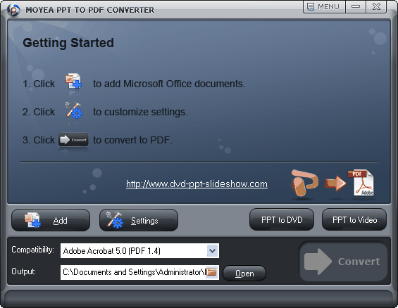 Moyea Excel to PDF Converter Screenshot