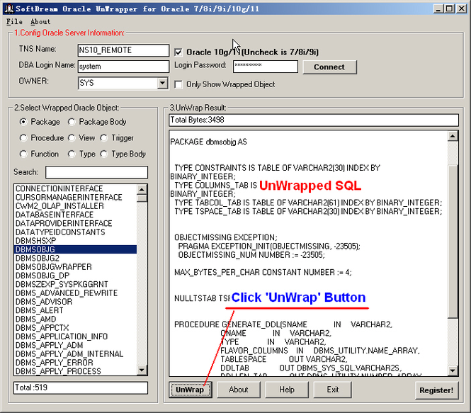 SoftDream Oracle UnWrapper Screenshot 1