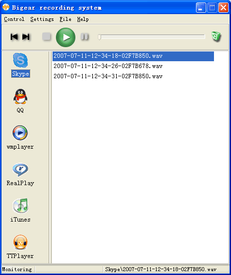 Bigear VoIP recorder Screenshot