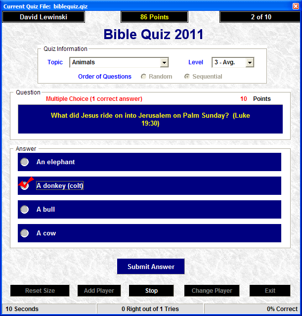 Bible Quiz 2008 Freeware Screenshot