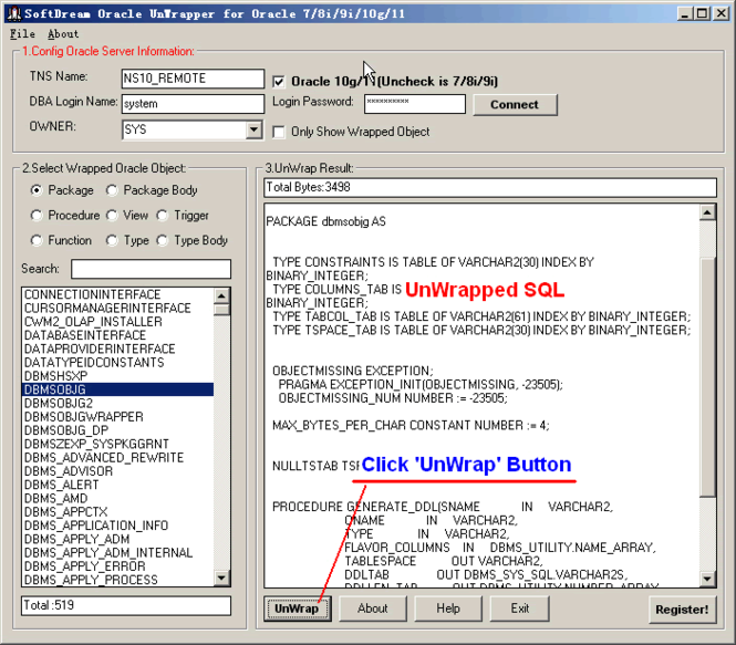 SoftDream Oracle UnWrapper(Site License 10 User) Screenshot