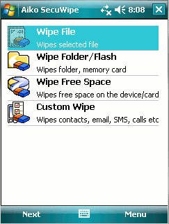 SecuWipe for Pocket PC Screenshot 1