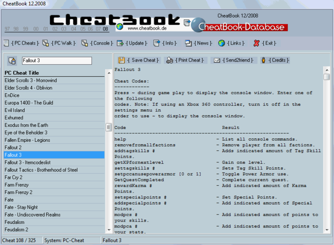 CheatBook Issue 12/2008 Screenshot 1