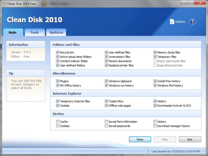 Clean Disk 2010 Screenshot
