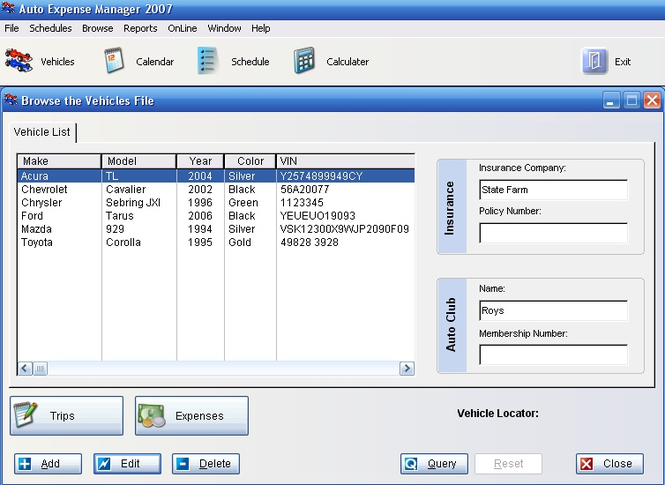 Auto Expense Manager 2009 Screenshot 1