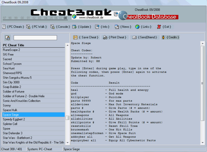 CheatBook Issue 09/2008 Screenshot