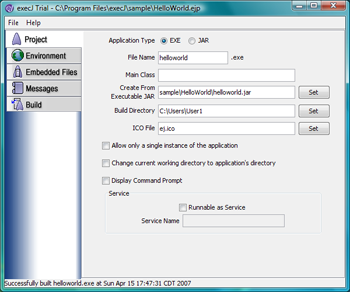 Java EXE Maker + Windows Service - execJ Screenshot 1