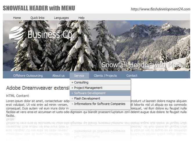 Flash Header with Menu Screenshot 1