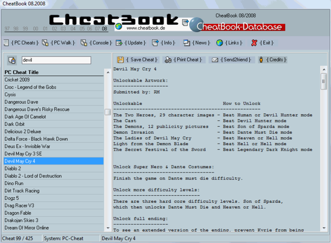 CheatBook Issue 08/2008 Screenshot