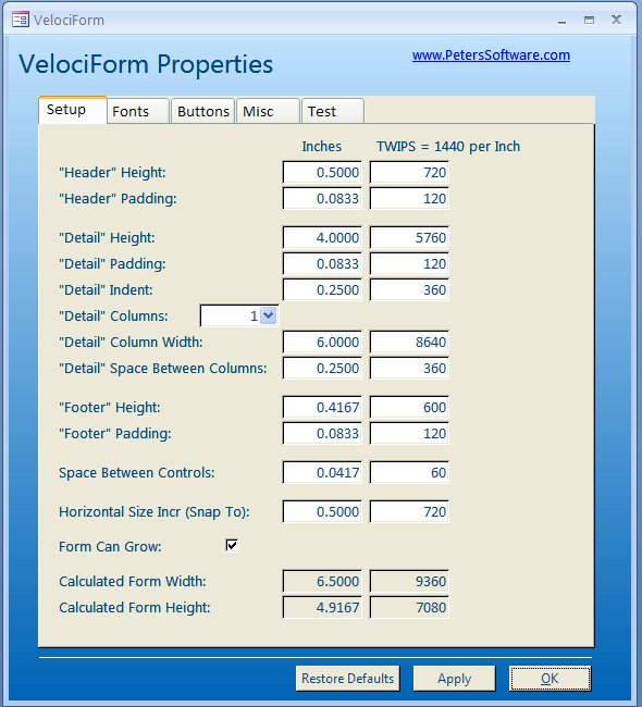 VelociForm for Microsoft Access Screenshot