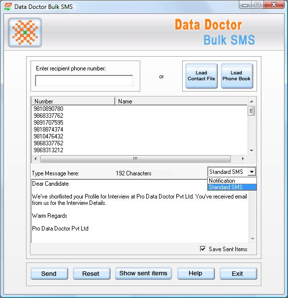 PDA Bulk Messaging Tool Screenshot 1