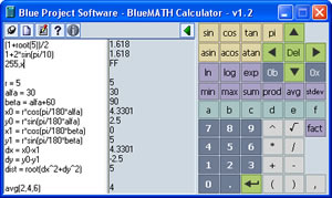 Blue MATH Calculator Screenshot