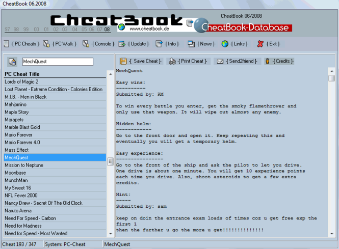 CheatBook Issue 06/2008 Screenshot 1