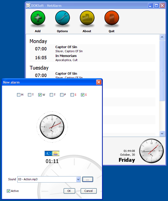 Net Alarm Clock Screenshot