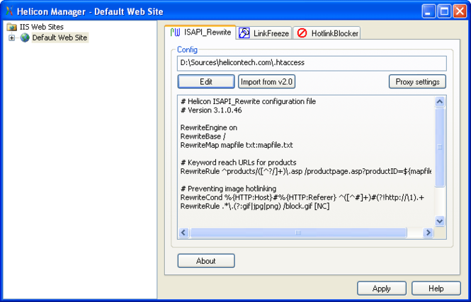 ISAPI_Rewrite Screenshot