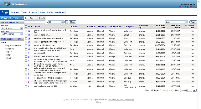 Web Bug Tracker Unlimited User License Screenshot