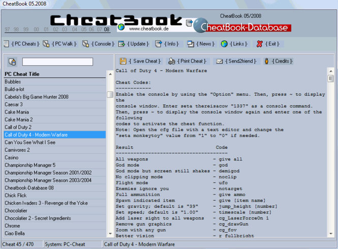 CheatBook Issue 05/2008 Screenshot