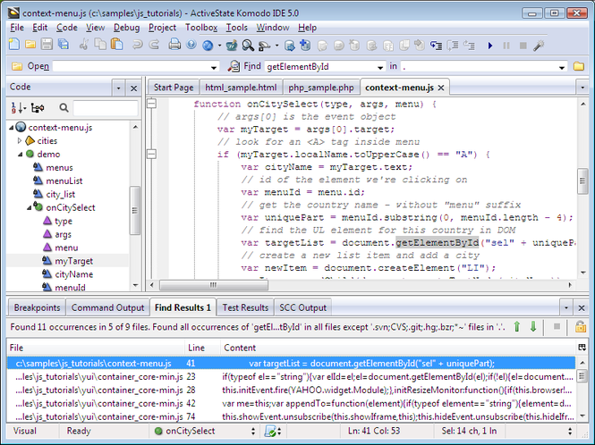 Komodo IDE (Windows) Screenshot