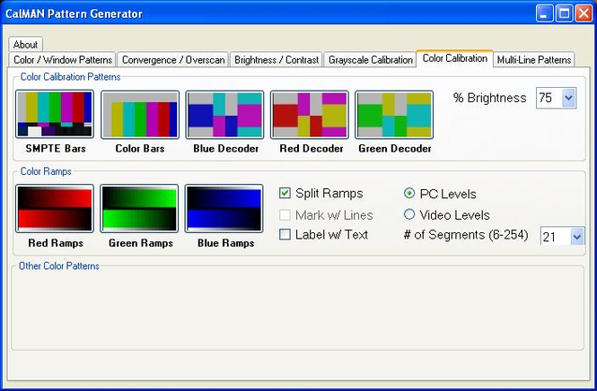 CalMAN HTPC Pattern Generator Screenshot 1