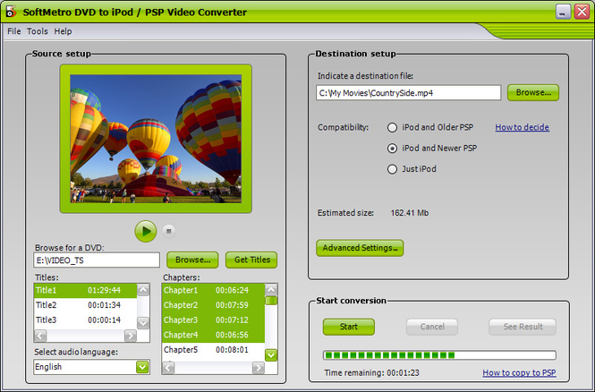 SoftMetro DVD to iPod/PSP Converter Screenshot